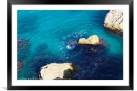 Turquoise sea at Nerja, Spain, Framed Mounted Print