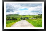 Beautiful landscape with rural road and hills, Framed Mounted Print