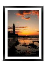 St. Mary's Lighthouse Sunrise, Framed Mounted Print