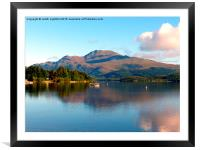 The peacful tranquility of Loch Lomond, Framed Mounted Print