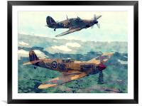 Spitfire And Hurricane Water Color And Sketch, Framed Mounted Print