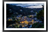 The sun sets over Polperro, Framed Mounted Print