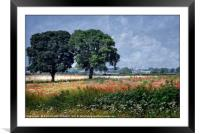 """""""Trees in the poppy field"""", Framed Mounted Print"""