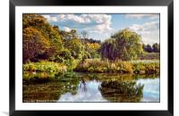 """""""Early Autumn reflections in the park lake"""", Framed Mounted Print"""