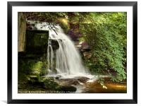 """""""Shaft of light at the waterfall"""", Framed Mounted Print"""