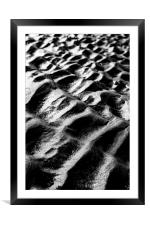 Brancaster Beach Sand Ripples in Black and White, Framed Mounted Print