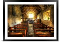 Sunlit Ancient Chapel Interior, Framed Mounted Print