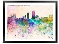 Lyon skyline in watercolor background, Framed Mounted Print