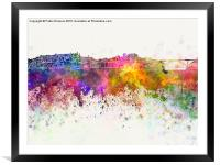 Porto skyline in watercolor background, Framed Mounted Print