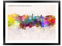 Nice skyline in watercolor background, Framed Mounted Print