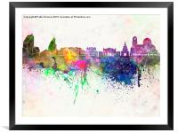 Sofia skyline in watercolor background, Framed Mounted Print