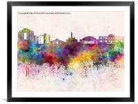 Nicosia skyline in watercolor background, Framed Mounted Print