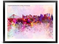 Warsaw skyline in watercolor background, Framed Mounted Print