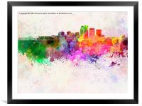 Louisville skyline in watercolor background, Framed Mounted Print