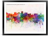 Jackson skyline in watercolor background, Framed Mounted Print
