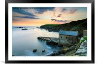 Old Lizard Lifeboat Station at sunset, Framed Mounted Print