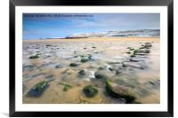 Stepping stones in winter (Perranporth), Framed Mounted Print