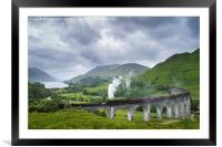 Jacobite Express crossing Glenfinnan Viaduct, Framed Mounted Print