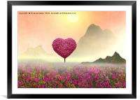 the Little pink heart tree , Framed Mounted Print