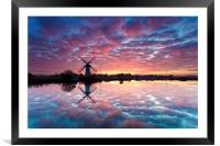 Thurne Windmill at Sunrise, Norfolk Broads., Framed Mounted Print