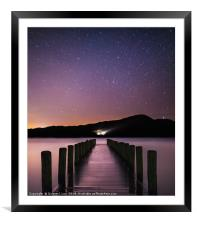 Starry Night by the Lake, Framed Mounted Print