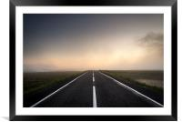 Road over the misty moors at sunset, Framed Mounted Print