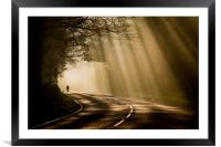 Cycling through sunrays, Framed Mounted Print