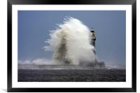 Stomy weather at Roker Lighthouse, Framed Mounted Print