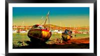 Fishing boats at low tide , Framed Mounted Print