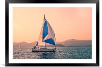 Yacht racing, Framed Mounted Print