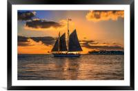 Sunset Sail and Plane, Framed Mounted Print