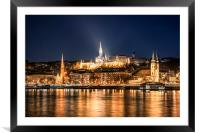 Budapest at Night, Framed Mounted Print