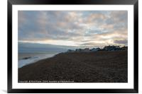 Aldeburgh beach with sun breaking through clouds, Framed Mounted Print