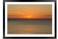 Sunset viewed from Porthmeor beach, St Ives, Framed Mounted Print