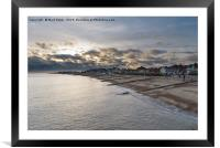 Felixstowe seafront with golden sun behind clouds , Framed Mounted Print