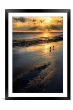 Sunset Strolls, Worthing Beach, Framed Mounted Print