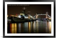 HMS Belfast and Tower Bridge, London, Framed Mounted Print