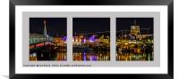 Shoreham Harbour at Night Triptych, Framed Mounted Print