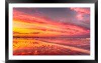 Sunset at the beach, Framed Mounted Print