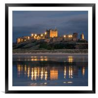 Twilight at Bamburgh Castle , Framed Mounted Print