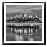 Twilight at Bamburgh Castle  in Mono, Framed Mounted Print