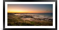 Bamburgh beach sunset , Framed Mounted Print