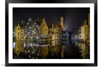 A time for Reflection in Brugge, Framed Mounted Print