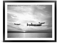 Lancaster bomber and spitfires, Framed Mounted Print