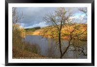 Goyt Valley and Errwood Resevoir at sunset, Framed Mounted Print