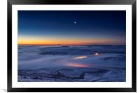 Winter conjunction over freezing fog and snow  , Framed Mounted Print