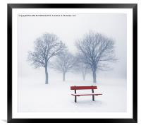 Winter trees and bench in fog, Framed Mounted Print