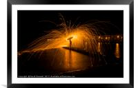 Wire Wool Spinning , Framed Mounted Print