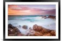 Sunset at cobo bay Guernsey , Framed Mounted Print