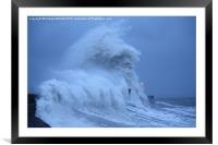 Porthcawl lighthouse in Storm Clodagh , Framed Mounted Print